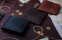Кожаный мужской кошелек зажим для денег Ручная работа Натуральная кожа
