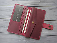 Большой вместительный кожаный кошелёк MILANA_марсала