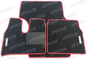 MAN TGA ворсовые коврики (широкая кабина)(чёрный-красный) ЛЮКС