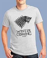 """Стильная мужская футболка, хлопковая с принтом   """"Winter Is Coming"""""""