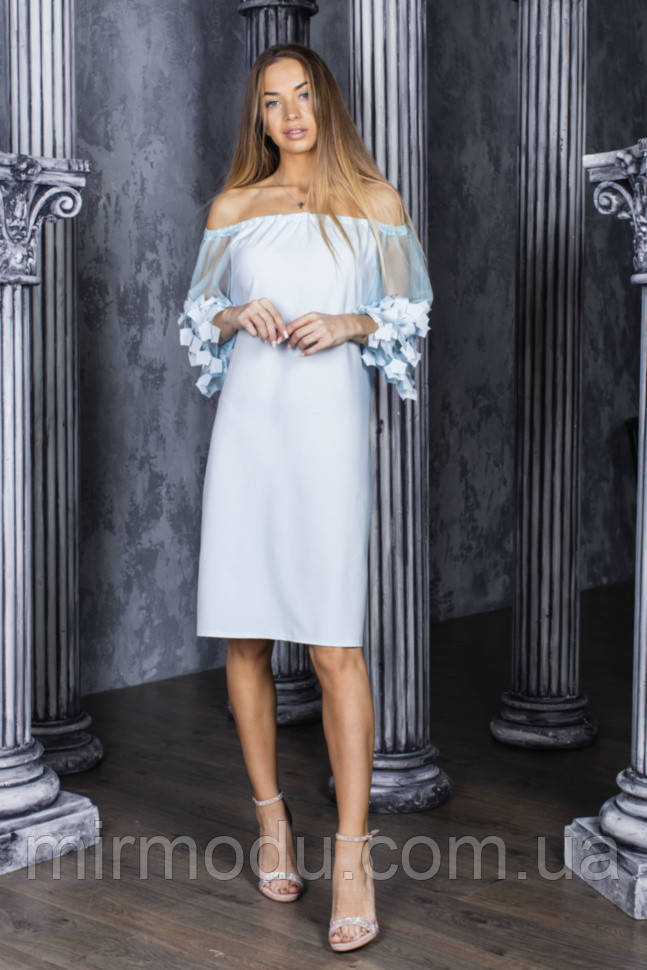 Летнее платье софт, рукава фатин в расцветках (42-48) 5602021 - RN5601