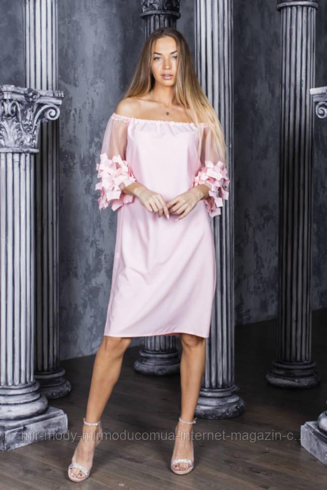 Летнее платье софт, рукава фатин в расцветках (42-48) 5602020 - RN5601