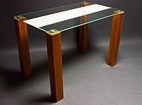 """Стеклянный кухонный стол """"Вектор"""" бежевый"""