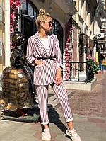 Женский костюм в полоску, пиджак и брюки, фото 1