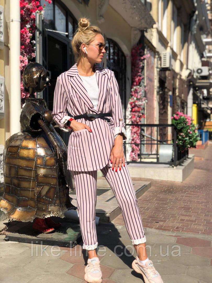Женский костюм в полоску, пиджак и брюки