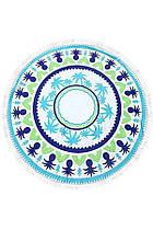 Круглое Полотенце Голубые Пальмы, 150 см + бахрома