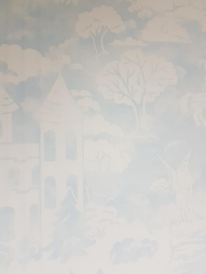 Обои бумажные YORK  KI0562 A Perfect World детские молодежные замки рыцари лошади деревья голубые