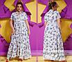 Платье длинное короткий рукав принт софт 50-52,54-56, фото 4
