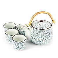 Необычный набор сервиз чайный фарфор АS017 узор синие цветочки