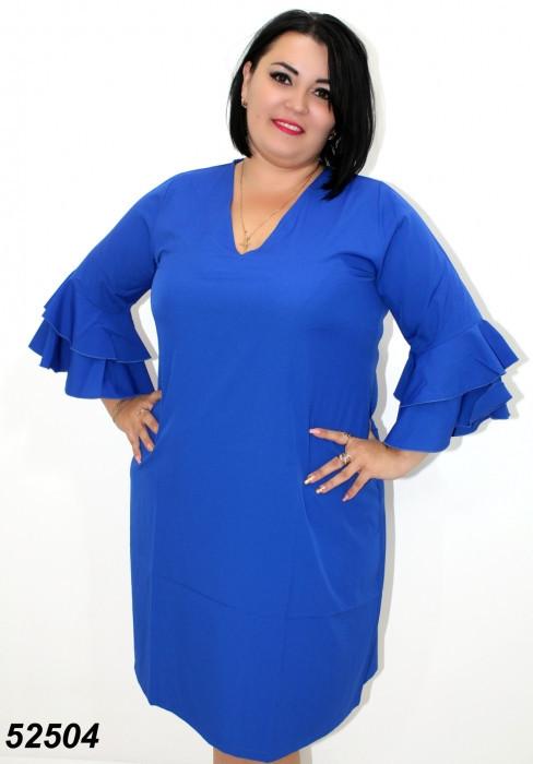 Легкое летнее платье с рукавом,синее 50,52,54,56