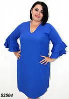 Легкое летнее платье с рукавом,синее 50,52,54,56, фото 1