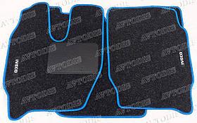 Iveco Stralis 2007- узкая кабина ворсовые коврики (чёрный-синий) ЛЮКС