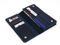 Женский кожаный кошелек клатч GS синий