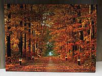 Светящаяся картина осенний лес с тропой горящих фонарей, 30х40 см (940102)