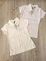Кофта школьная для девочки 8-14 лет белого, молочного цвета с кружевом оптом