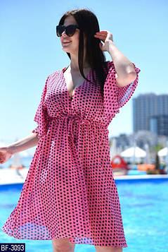 Модная женская пляжная туника  из принтованного шифона  батал с 50 до 56 размер, фото 2