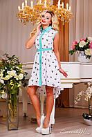 Женское шифоновое летнее платье свободного кроя с поясом Белое, фото 1