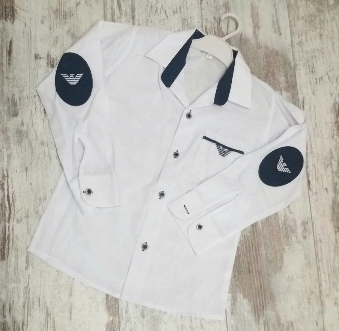 Детская школьная белая рубашка с длинным рукавом на мальчиков 11-14 лет Турция