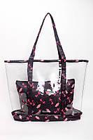 Прозрачная сумка шоппер с косметичкой в гламурный принт, розовая, черная, фото 1