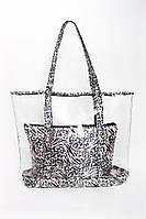 Прозрачная сумка шоппер с косметичкой в животный принт, фото 1