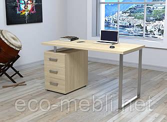 Письмовий стіл для дому та офісу L-27 Макс Loft Design Хром / Дуб Борас