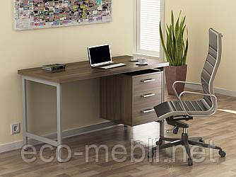 Письмовий стіл для дому та офісу L-45 Loft Design Хром / Горіх Модена