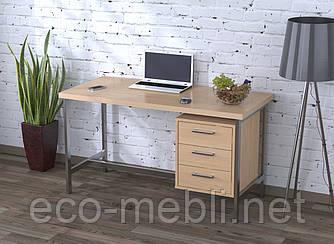 Письмовий стіл для дому та офісу L-45 Loft Design Хром / Дуб Борас