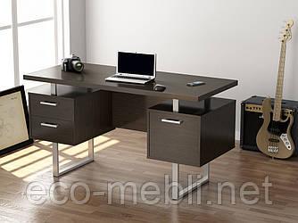 Письмовий стіл для дому та офісу L-81 Loft Design Хром / Венге Корсика