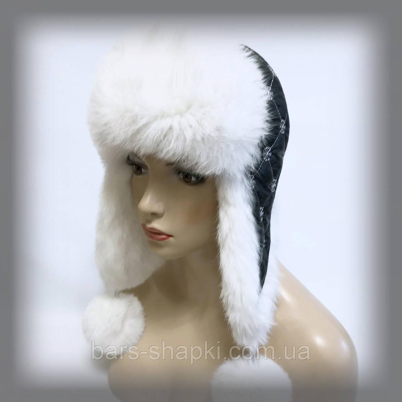 Женская ушанка из кролика (белая)