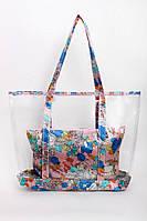 Женская сумка шоппер прозрачная с косметичкой в цветочный принт, фото 1