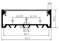 Прямой светодиодный профиль YF122 (2м) с рассеивателем, анодированный
