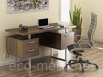 Письмовий стіл для дому та офісу L-81 Loft Design Хром / Горіх Модена