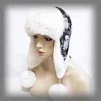 """Женская ушанка из кролика """"со стразами"""" (белая), фото 1"""