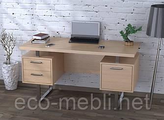 Письмовий стіл для дому та офісу L-81 Loft Design Хром / Дуб Борас