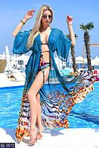 Эффектная шифоновая пляжная туника в ярких цветочных принтах много расцветок с 42 по 46 размер, фото 2