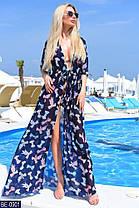 Эффектная шифоновая пляжная туника в ярких цветочных принтах много расцветок с 42 по 46 размер, фото 3