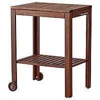 IKEA APPLARO/KLASEN Столик на колесиках для гриля, коричневая морилка  (490.484.06)