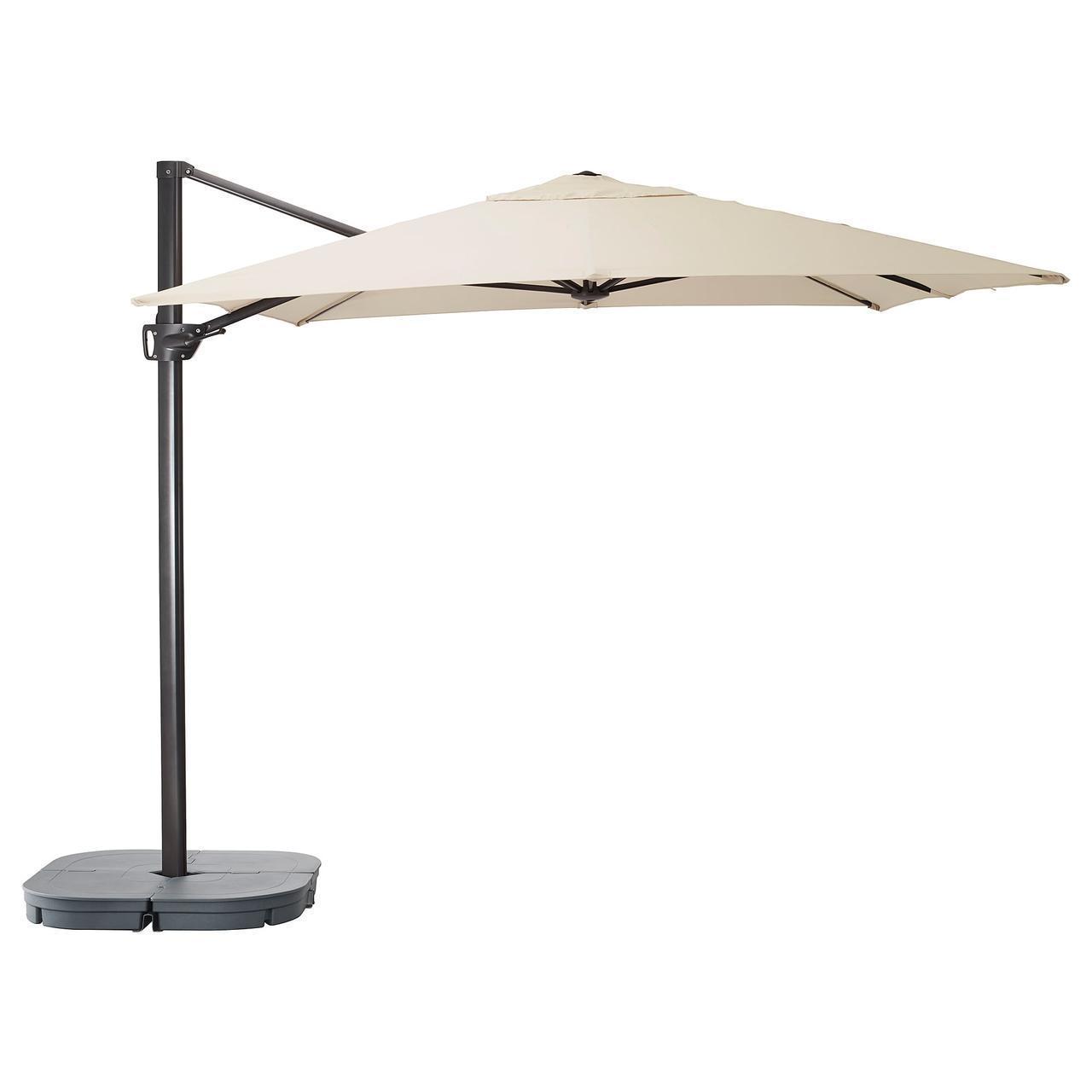 IKEA SEGLARO/SVARTO Зонт подвесной с подставкой, с наклоном зонт бежевый, подставка темно-серая  (492.518.03)