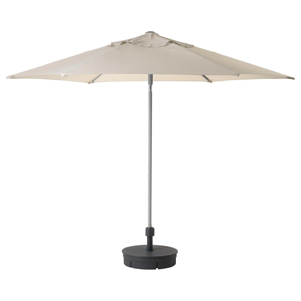 IKEA KUGGO/LINDOJA Зонт с подставкой, бежевый, гритö темно-серый  (292.676.16)