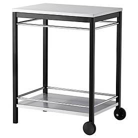 IKEA KLASEN Столик на коліщатках для гриля, нержавіюча сталь чорна (499.318.02)
