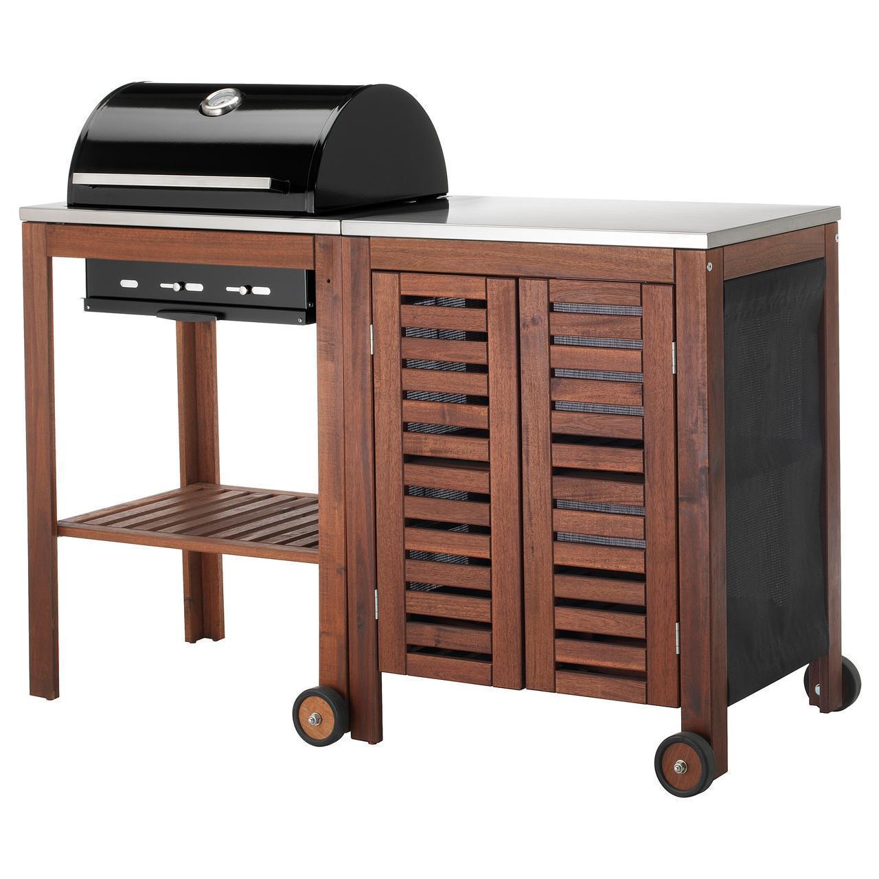 IKEA APPLARO/KLASEN Гриль с шкафом, коричневая Морилка, сталь  (292.819.38)