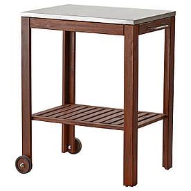 IKEA APPLARO/KLASEN Столик на коліщатках для гриля, коричнева морилка, нержавіюча (490.484.11)