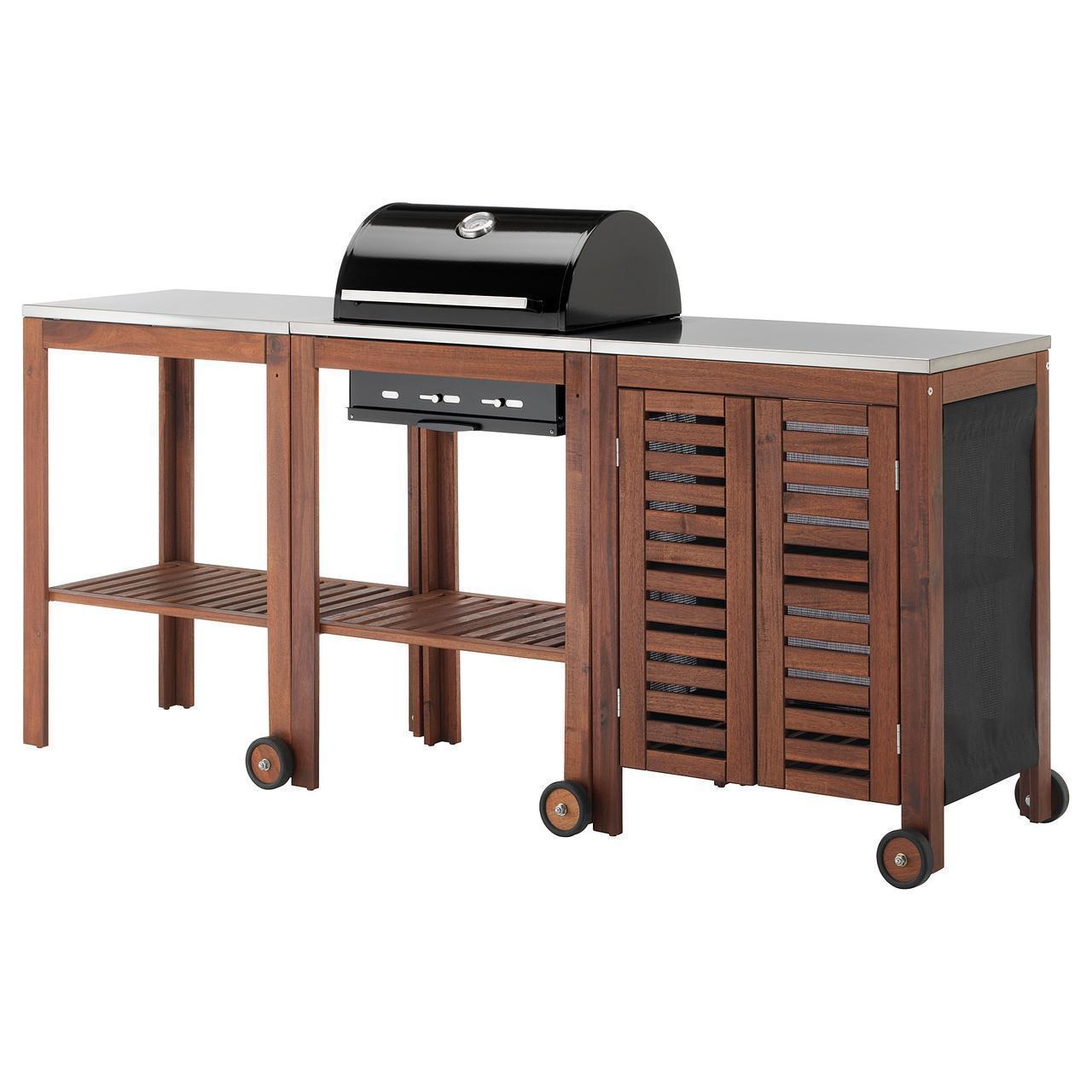 IKEA APPLARO/KLASEN Гриль с шкафом и столиком, коричневая Морилка, сталь  (992.289.66)