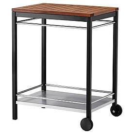 IKEA KLASEN Столик на коліщатках для гриля, нержавіюча сталь, коричнева морилка (290.334.15)