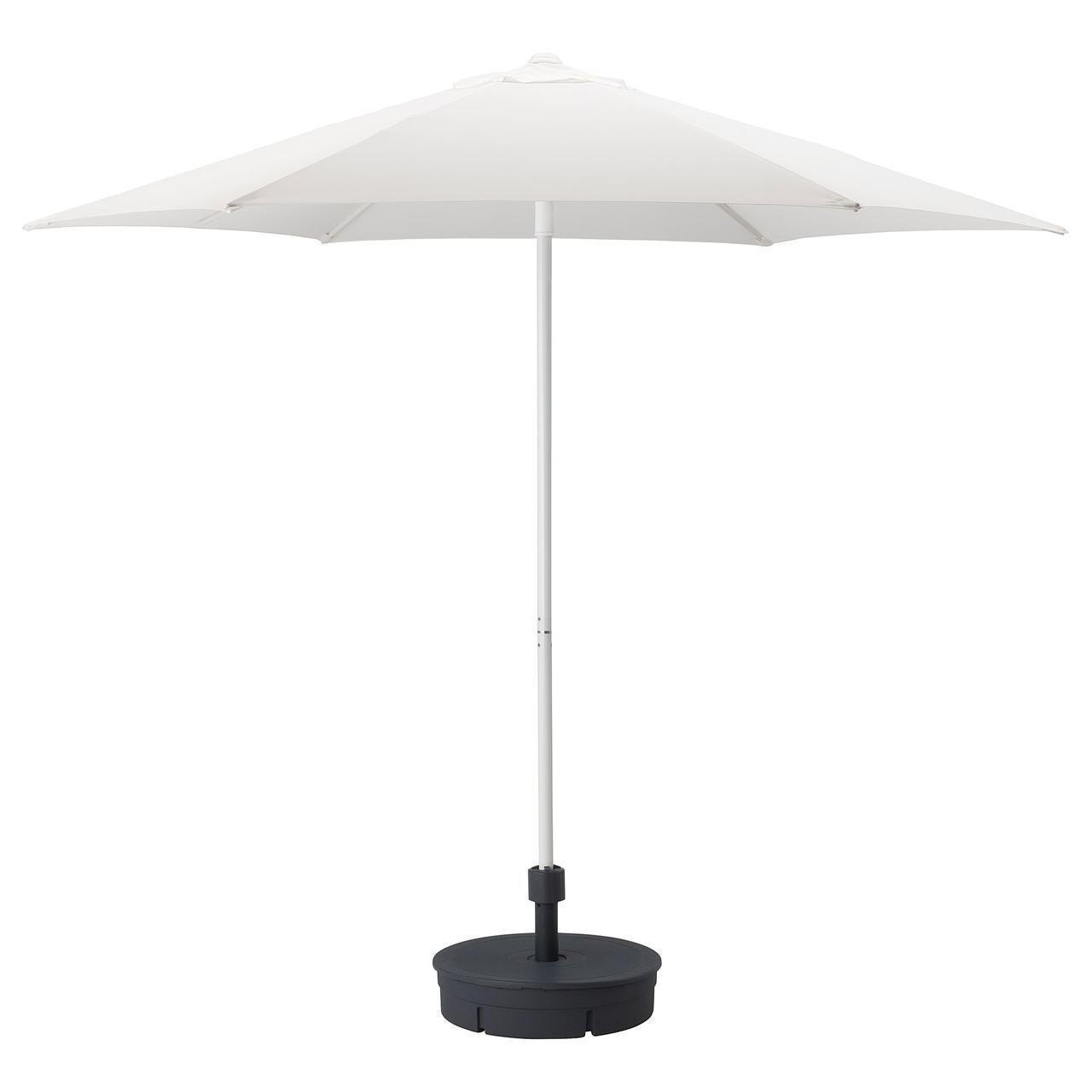 IKEA HOGON Зонт с подставкой, белый, подставка темно-серый  (392.858.13)