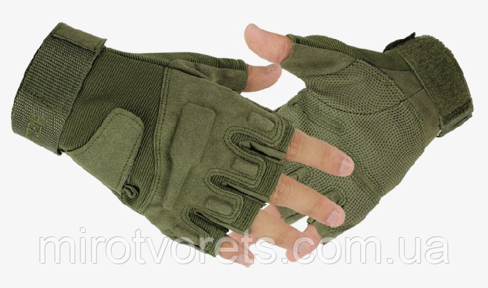 Тактические беспалые перчатки BlackHawk олива XL