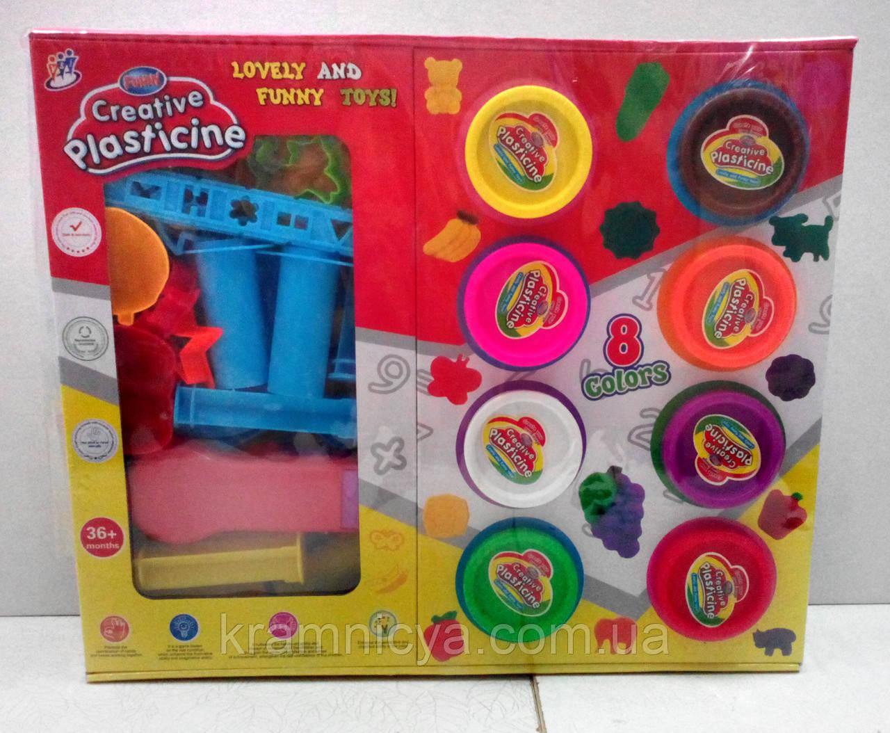 Набор для детского творчества. Тесто для лепки:  8шт, + формочки, + инструменты