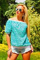 Молодежная женская летняя блузка с открытыми плечами, фото 1