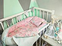 """Кокон-гнездышко для новорожденных 0-18 мес с дополнительным матрасиком """"Единороги на розовом"""""""