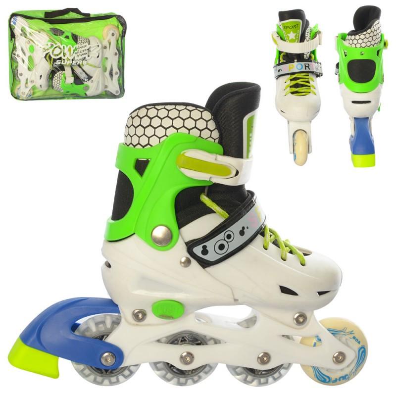 Ролики 31-34 розсувні, шнурівки, бакля, колір білий, зелений, світло, в сумці. 44574